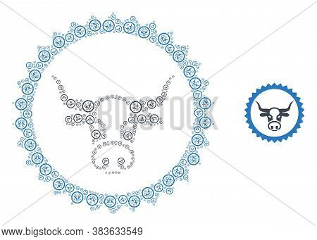 Vector Cow Seal Stamp Composition Is Created With Repeating Recursive Cow Seal Stamp Pictograms. Rec