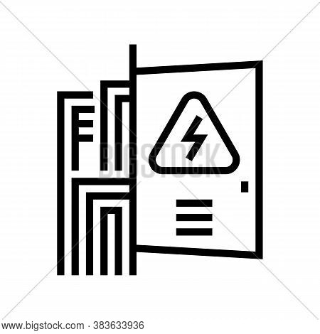 Switchboard Box Line Icon Vector. Switchboard Box Sign. Isolated Contour Symbol Black Illustration