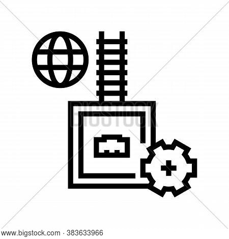 Electrical Fuse Line Icon Vector. Electrical Fuse Sign. Isolated Contour Symbol Black Illustration