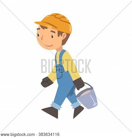 Boy Construction Worker Carrying Bucket, Cute Little Builder Character Wearing Blue Overalls And Har