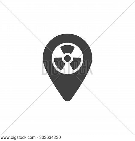 Map Point Radioactive Zone Vector Icon. Filled Flat Sign For Mobile Concept And Web Design. Nuclear