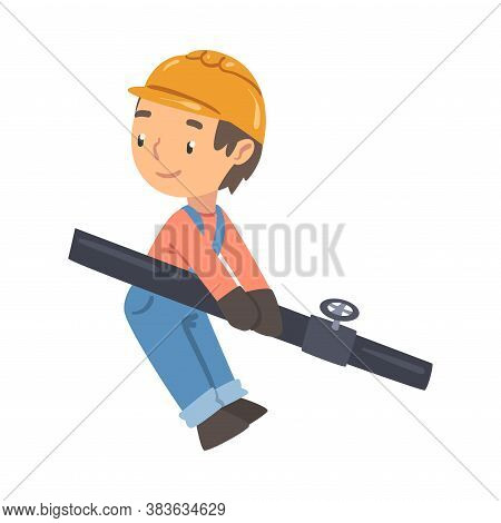 Boy Construction Worker Holding Pipe, Cute Little Builder Character Wearing Blue Overalls And Hard H