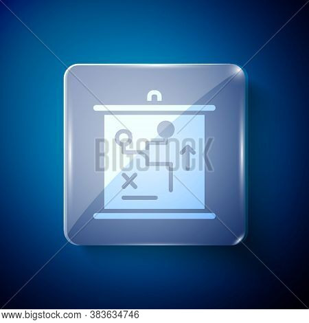 White Planning Strategy Concept Icon Isolated On Blue Background. Cup Formation And Tactic. Square G