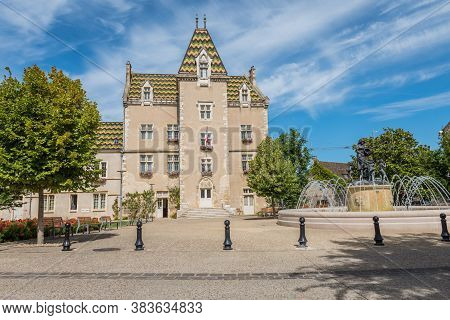 Meursault, Burgundy, France- July 9, 2020: The Town Hall In Meursault.