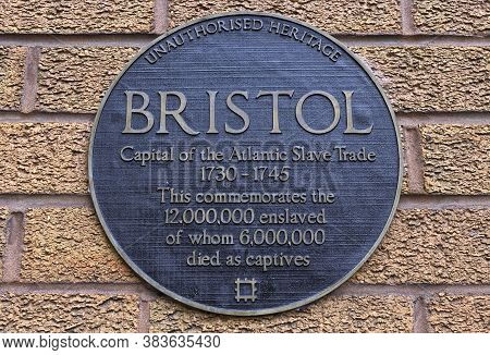 Bristol, Uk - August 30, 2017: An Unofficial Plaque By Artist Will Coles In Bristol, Uk Marks The Ci