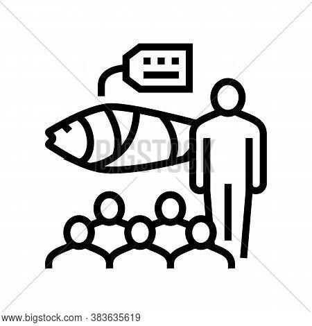 Tuna Auction Market Line Icon Vector. Tuna Auction Market Sign. Isolated Contour Symbol Black Illust