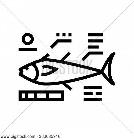 Tuna Fish Characteristics Line Icon Vector. Tuna Fish Characteristics Sign. Isolated Contour Symbol