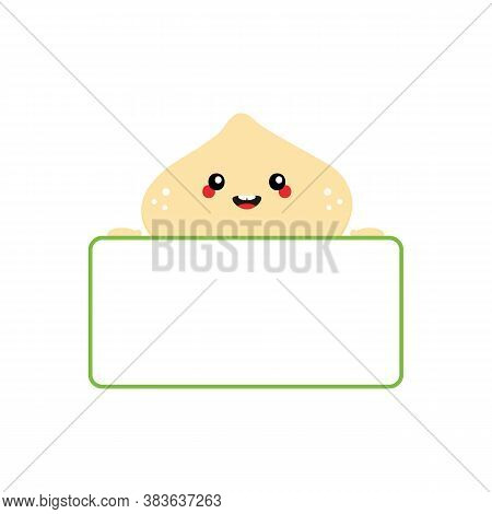 Cute Cartoon Smiling Macadamia Nut Character Holding In Hands Blank, Empty Card For Quote Or Informa