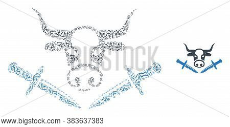 Vector Cow Butchery Knives Mosaic Is Done From Randomized Recursive Cow Butchery Knives Items. Recur