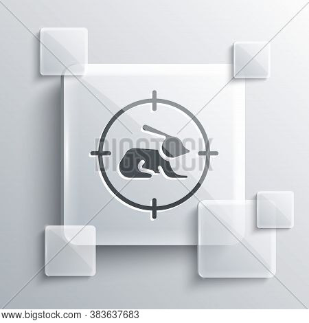 Grey Hunt On Rabbit With Crosshairs Icon Isolated On Grey Background. Hunting Club Logo With Rabbit