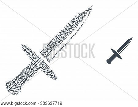Vector Knife Blade Mosaic Is Created From Scattered Self Knife Blade Parts. Recursion Mosaic From Kn