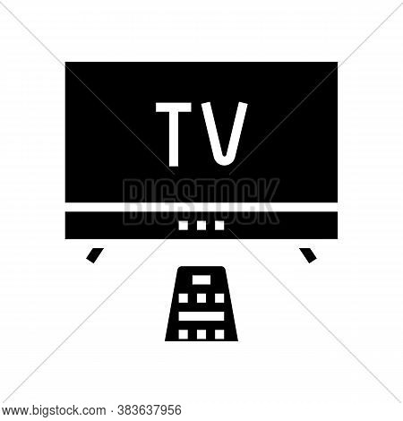 Watching Tv Glyph Icon Vector. Watching Tv Sign. Isolated Contour Symbol Black Illustration