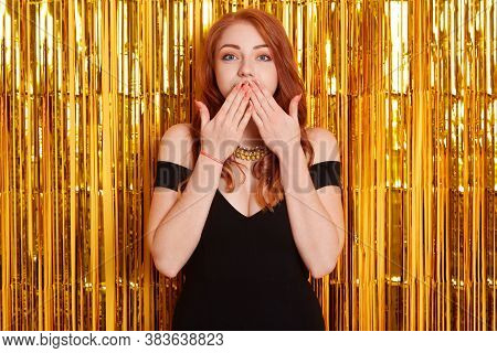 Beautiful Red Haired Happy Woman At Celebration Birthday Party, New Year Eve Celebrating, Being Surp