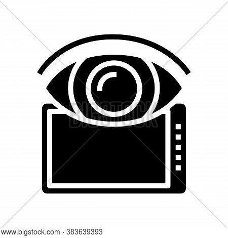Watching On Tablet Screen Glyph Icon Vector. Watching On Tablet Screen Sign. Isolated Contour Symbol