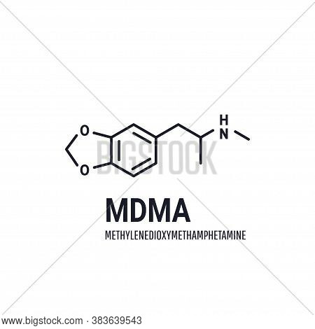 Mdma Or Ecstasy Structural Chemical Formula On White Background