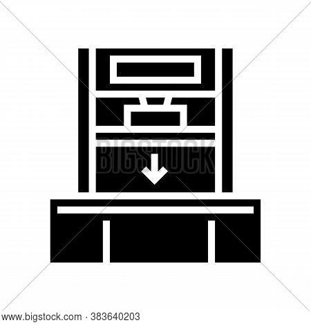 Pressing Machine Glyph Icon Vector. Pressing Machine Sign. Isolated Contour Symbol Black Illustratio