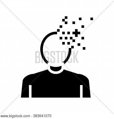 Dementia Psychological Problems Glyph Icon Vector. Dementia Psychological Problems Sign. Isolated Co