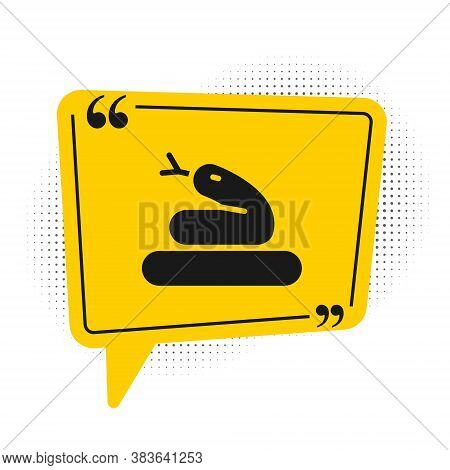 Black Snake Icon Isolated On White Background. Yellow Speech Bubble Symbol. Vector