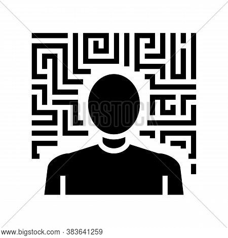 Hallucinations Psychological Problems Glyph Icon Vector. Hallucinations Psychological Problems Sign.