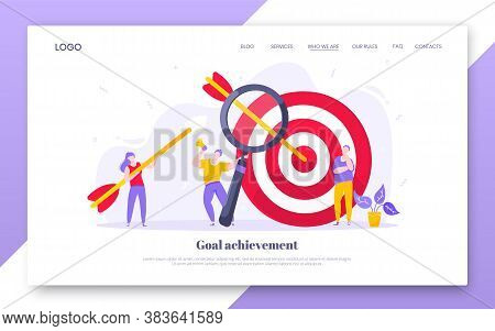 Goal Achievement Business Concept Sport Target Icon And Arrow In The Bullseye. Tiny People With Magn