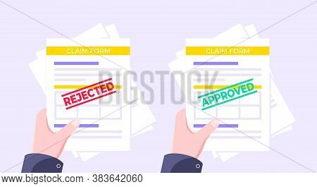 Hands Hold Rejected And Approved Claim Or Credit Loan Forms, Paper Sheets And Stamps Flat Style Desi
