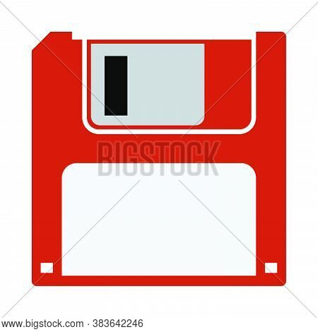Floppy Icon. Flat Color Design. Vector Illustration.