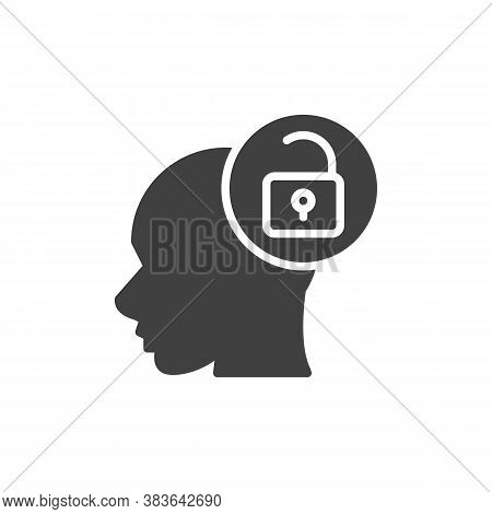 Open Mind Vector Icon. Filled Flat Sign For Mobile Concept And Web Design. Head And Open Padlock Gly