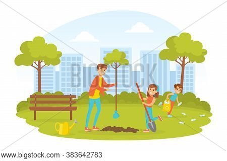 People Taking Care About Ecology, Young Woman And Two Children Planting Trees In Park, Ecology And E