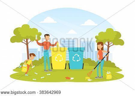 People Taking Care About Ecology, Family Collecting And Putting Rubbish Into Trash Bins, Ecology And
