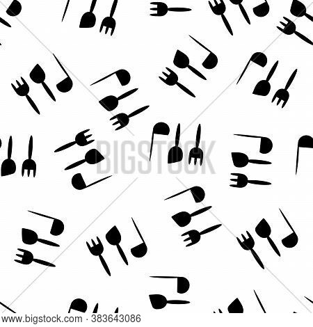 Seamless Pattern For Kitchen Utensils, Ladles, Forks . Cooking, Eating. Hand-drawn Background For Ki