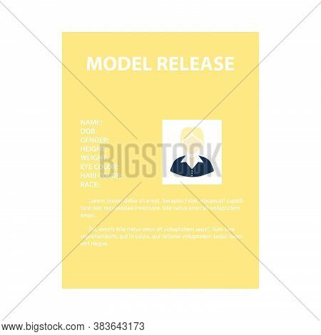 Icon Of Model Release Document. Flat Color Design. Vector Illustration.