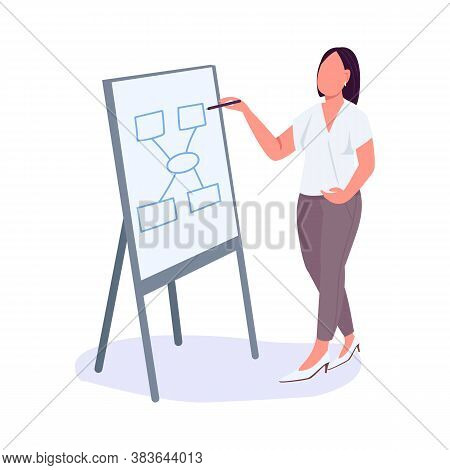 Woman At Business Meeting Flat Color Vector Faceless Character. Business Lady. Office Worker Present