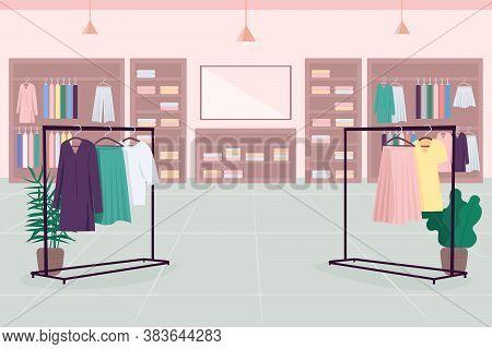 Clothes Emporium Flat Color Vector Illustration. Department Store. Shopping Mall. Cloth Boutique. Fa
