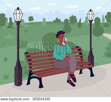 Upset Woman Sitting On Bench In Park Flat Color Vector Illustration. Psychological State. Mental Hea