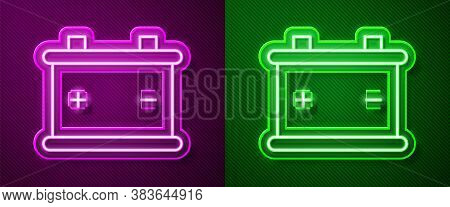 Glowing Neon Line Car Battery Icon Isolated On Purple And Green Background. Accumulator Battery Ener