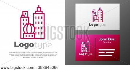 Logotype Line City Landscape Icon Isolated On White Background. Metropolis Architecture Panoramic La