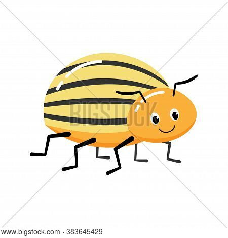 Cartoon Colorado Potato Beetle. Colorful Book Page Design For Kids And Children.