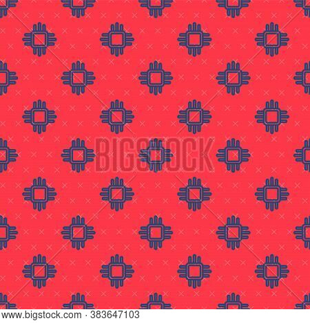 Blue Line Computer Processor With Microcircuits Cpu Icon Isolated Seamless Pattern On Red Background
