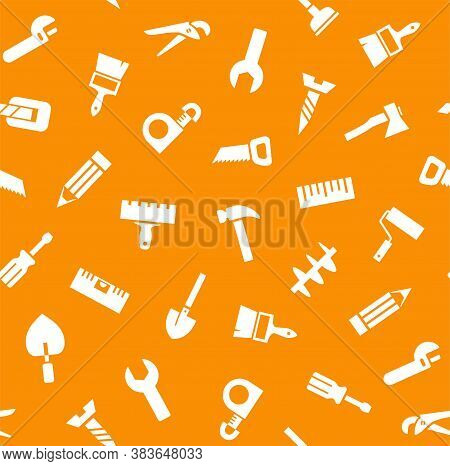 Hand Tools, Construction, Seamless Pattern, Orange. White Icons On An Orange Field. Single-color Fla