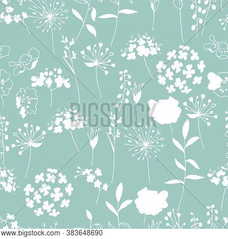 Seamless Modest Pattern With Summer White Flowers