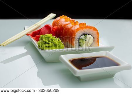 Sushi With Salmon Philadelphia Cheese And Wasabi