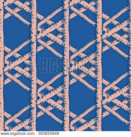 Vector Macramee Braid Weave Effect Seamless Interlace Pattern Background. Horizontal Rows Of Woven S