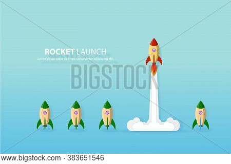 Think Different,the Rocket Flying To The Sky Move For Success In Life Concept Of Courage, Enterprise