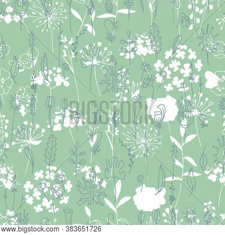 Seamless Modest Pattern With Green And White Flowers