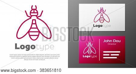 Logotype Line Bee Icon Isolated On White Background. Sweet Natural Food. Honeybee Or Apis With Wings