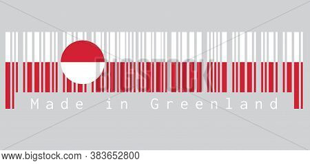 Barcode Set The Color Of Greenland Flag, White And Red Color With A Counterchanged Disk Slightly Off