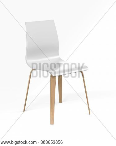 White Designer Chair With Wooden Legs On White Background - 3d Render