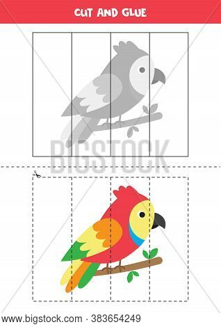 Cut And Glue Game For Kids. Cute Colorful Parrot.