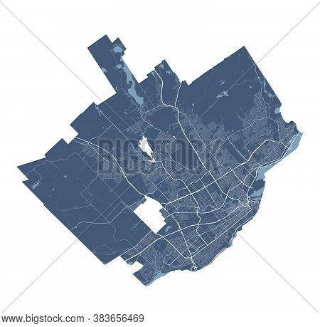Quebec Map. Detailed Vector Map Of Quebec City Administrative Area. Cityscape Poster Metropolitan Ar