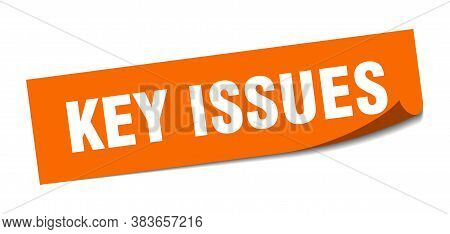 Key Issues Sticker. Key Issues Square Sign. Peeler